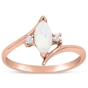 1/2 Carat Marquise Shape Opal and Two Diamond Ring In 14 Karat Rose Gold