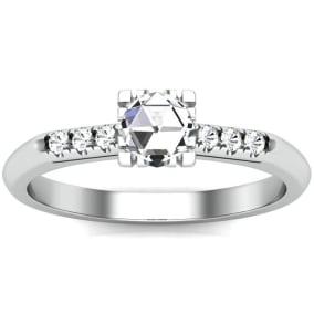 1/2 Carat Rose Cut Diamond Ring In 14 Karat White Gold