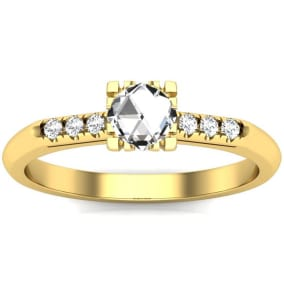 1/2 Carat Rose Cut Diamond Ring In 14 Karat Yellow Gold