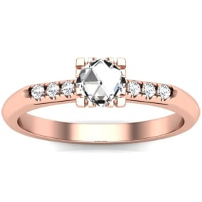 1/2 Carat Rose Cut Diamond Ring In 14 Karat Rose Gold