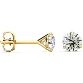 1 Carat Diamond Stud Earrings In Martini Setting, 14 Karat Yellow Gold