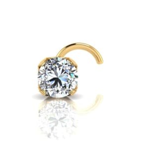0.015ct 1.5mm Diamond Nose Ring In 14K Yellow Gold