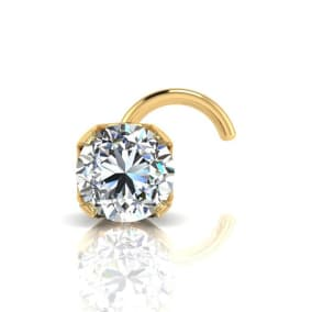 0.03ct 2mm Diamond Nose Ring In 14K Yellow Gold