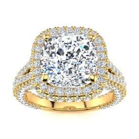 6 Carat Cushion Cut Halo Diamond Engagement Ring In 14K Yellow Gold