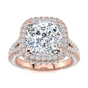6 Carat Cushion Cut Halo Diamond Engagement Ring In 14K Rose Gold
