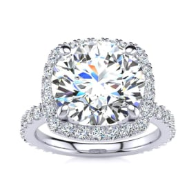 5 1/4 Carat Round Brilliant Halo Diamond Engagement Ring In 14K White Gold