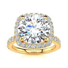 5 1/4 Carat Round Brilliant Halo Diamond Engagement Ring In 14K Yellow Gold