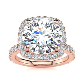 5 1/4 Carat Round Brilliant Halo Diamond Engagement Ring In 14K Rose Gold