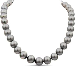12-14MM Peacock Tahitian South Sea Pearl Strand Necklace With 14K White Gold Clasp, 18 Inches AAA Quality