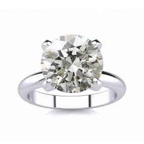 3 Carat Diamond Solitaire Engagement Ring In 14K White Gold