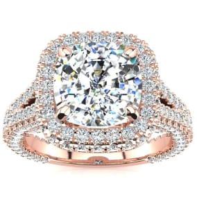 4 1/2 Carat Cushion Cut Halo Diamond Engagement Ring In 14K Rose Gold