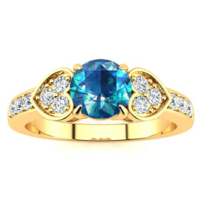 2/3 Carat Blue and White Diamond Promise Ring In 14K Yellow Gold
