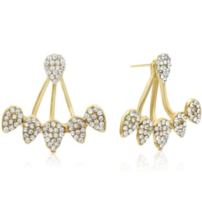 Crystal Spray Earring Jackets With 14K Yellow Gold Over Sterling Silver Silicone Backs