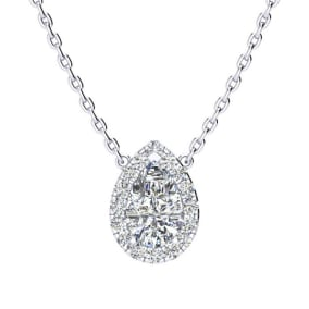 1/2 Carat Pear Shape Halo Diamond Necklace In 14K White Gold