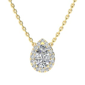 1/2 Carat Pear Shape Halo Diamond Necklace In 14K Yellow Gold