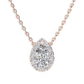 1/2 Carat Pear Shape Halo Diamond Necklace In 14K Rose Gold