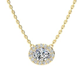 1/2 Carat Oval Shape Halo Diamond Necklace In 14K Yellow Gold