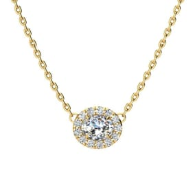 1/4 Carat Oval Shape Halo Diamond Necklace In 14K Yellow Gold