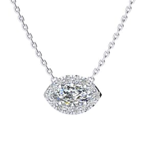 1/2 Carat Marquise Shape Halo Diamond Necklace In 14K White Gold