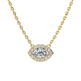 1/3 Carat Marquise Shape Halo Diamond Necklace In 14K Yellow Gold