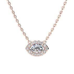 1/3 Carat Marquise Shape Halo Diamond Necklace In 14K Rose Gold