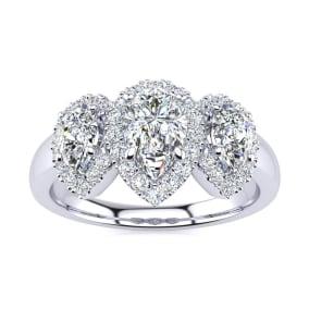 1 Carat Pear Shape Halo Diamond Three Stone Ring In 14K White Gold