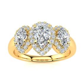 1 Carat Pear Shape Halo Diamond Three Stone Ring In 14K Yellow Gold