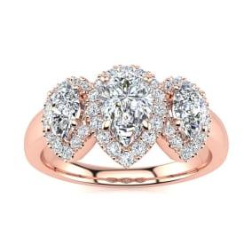 1 Carat Pear Shape Halo Diamond Three Stone Ring In 14K Rose Gold