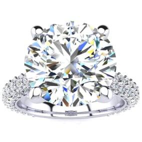 5 1/3 Carat Halo Diamond Engagement Ring With  Carat Center Diamond In 14K White Gold