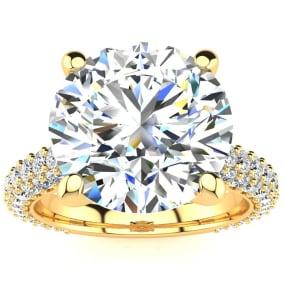 5 1/3 Carat Halo Diamond Engagement Ring With 4 Carat Center Diamond In 14K Yellow Gold