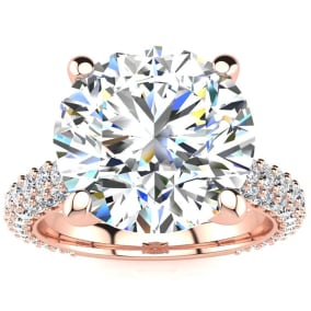 5 1/3 Carat Halo Diamond Engagement Ring With 4 Carat Center Diamond In 14K Rose Gold