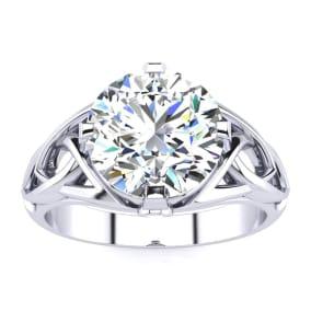 4 Carat Celtic Love Knot Diamond Engagement Ring In 14K White Gold