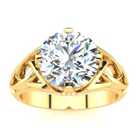 4 Carat Celtic Love Knot Diamond Engagement Ring In 14K Yellow Gold