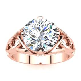 4 Carat Celtic Love Knot Diamond Engagement Ring In 14K Rose Gold