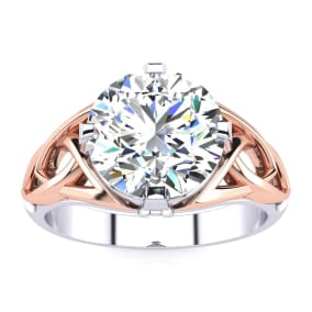 4 Carat Celtic Love Knot Diamond Engagement Ring In 14K Two Tone Rose and White Gold