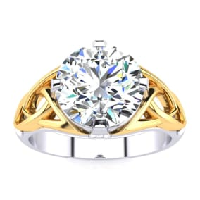 4 Carat Celtic Love Knot Diamond Engagement Ring In 14K Two Tone Yellow and White Gold