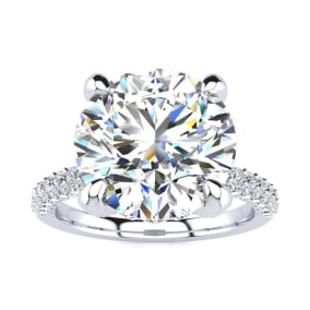 4 3/4 Carat Halo Diamond Engagement Ring With 4 Carat Center Diamond In 14K White Gold