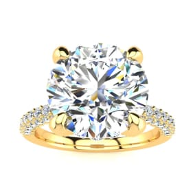 4 3/4 Carat Halo Diamond Engagement Ring With 4 Carat Center Diamond In 14K Yellow Gold