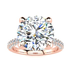 4 3/4 Carat Halo Diamond Engagement Ring With 4 Carat Center Diamond In 14K Rose Gold