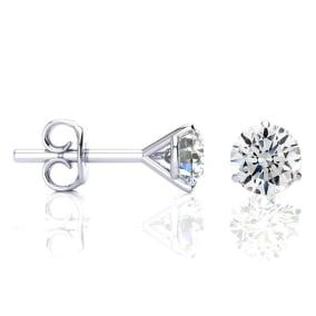 1.65 Carat Colorless Diamond Stud Earrings in 14 Karat White Gold Martini Setting