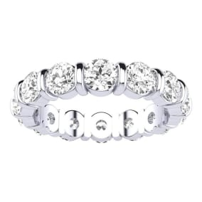 4ct Rounded Bar Set Diamond Eternity Band in 14k WG, H-I | SI1-SI2, SZ7-CLEARANCE
