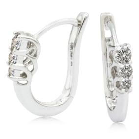1/4ct Trellis Motif Three Diamond Hoop Earrings in 10k White Gold