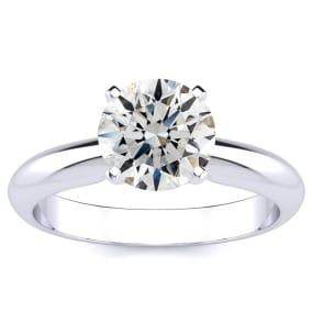 Fiery, Amazing, Bargain. 1.50ct Fine Round Diamond Solitaire in 14k White Gold.