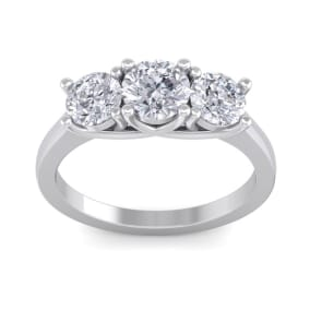 ea9a6aec3008db Huge 2ct Three Diamond Ring in 14k White Gold, Size 5