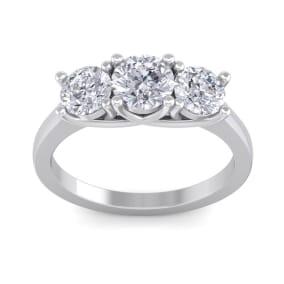 2 Carat Three Diamond Ring In 14 Karat White Gold
