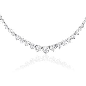 Graduated 10 Carat Diamond Tennis Necklace In 14 Karat White Gold