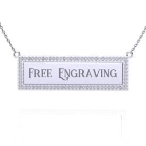 14K White Gold .38ct Diamond Bar Necklace With Free Custom Engraving, 18 Inches