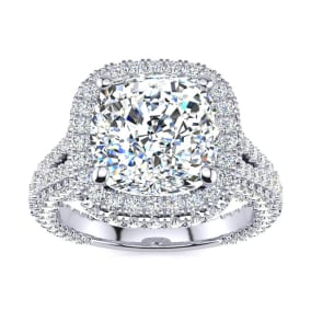6 Carat Cushion Cut Halo Diamond Engagement Ring In 14K White Gold, I-J Color, I1-I2 Clarity Version
