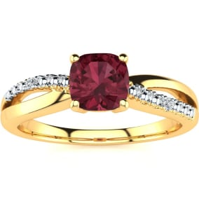 3/4ct Cushion Cut Garnet and Diamond Ring In 10K Yellow Gold