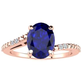 1 1/2ct Oval Shape Sapphire and Diamond Ring in 10k Rose Gold